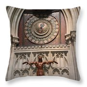 Wells Cathedral Geocentric Clock Throw Pillow