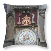 Wells Cathedral Outside Clock Throw Pillow