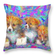 Welsh Corgi Pups Throw Pillow
