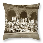 We're Up Against It,students On Steeps Of Encina Hall At Stanford University April 18,1907 Throw Pillow