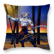 Werecat With Torch Throw Pillow