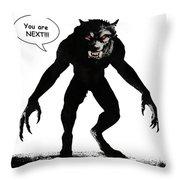 Werewolf Comic Illustration 1 Throw Pillow