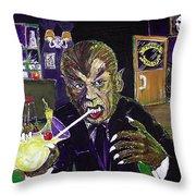Werewolf Drinking A Pina Colada At Trader Vic's Throw Pillow