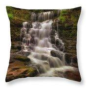 West Bank View Of Sgwd Isaf Clun-gwyn Falls Throw Pillow