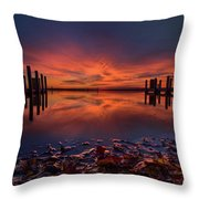 West Boat Launch Fall Sunrise Throw Pillow