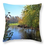 West Branch Iowa River Throw Pillow