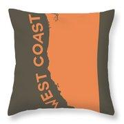 West Coast Pop Art - Crusta Orange On Judge Grey Brown Throw Pillow