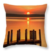 West Dnr Boat Launch July Sunrise Throw Pillow