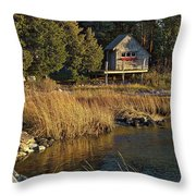 West Falmouth Boathouse Throw Pillow