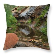 West Fork Trail River And Rock Vertical Throw Pillow
