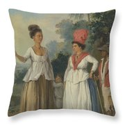West Indian Women Of Color, With A Child And Black Servant Throw Pillow