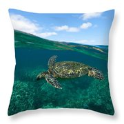 West Maui Green Sea Turtle Throw Pillow