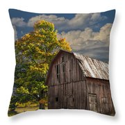 West Michigan Barn In Autumn Throw Pillow