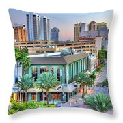 West Palm At Twilight Throw Pillow by Debra and Dave Vanderlaan