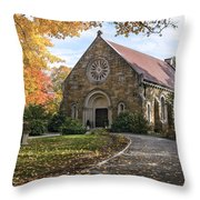 West Parish Chapel In Fall, Andover, Ma Throw Pillow