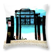 West Pier Graphic Throw Pillow by Chris Lord