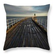 West Pier, Whitby, England Throw Pillow