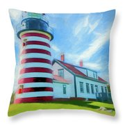 West Quaddy Head Lighthouse Throw Pillow