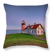 West Quoddy Head Light At Dusk Throw Pillow
