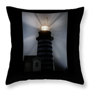 West Quoddy Head Lighthouse Aglow In Silhouette Throw Pillow