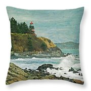 West Quoddy Head Lighthouse Throw Pillow