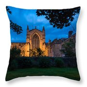 West Side Of Hexham Abbey At Night Throw Pillow