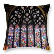 West Stained Glass Window Christ Church Cathedral 1 Throw Pillow