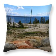West Thumb Geyer At Yellowstone Lake Throw Pillow