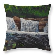 West Virgina Water Falls Throw Pillow