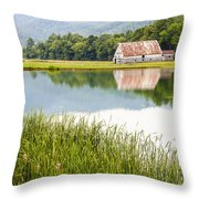 West Virginia Barn Reflected In Pond   Throw Pillow
