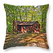 West Virginia Cabin Throw Pillow