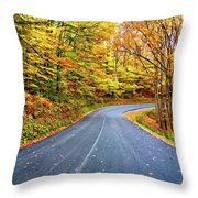 West Virginia Curves - In A Yellow Wood - Paint Throw Pillow