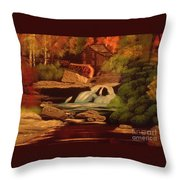 West Virginia Grist Mill Throw Pillow