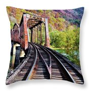 West Virginia Trestle Throw Pillow