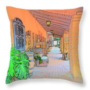 Western Alley Drawing 1 Throw Pillow