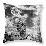 Western Auto In Winter Throw Pillow