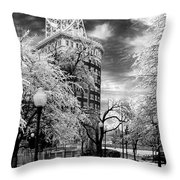 Western Auto In Winter Throw Pillow by Steve Karol