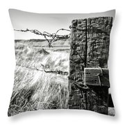 Western Barbed Wire Fence Black And White Throw Pillow