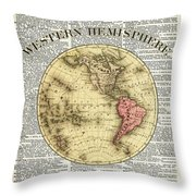 Western Hemisphere Earth Map  Throw Pillow by Anna W