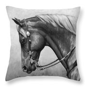 Western Horse Black And White Throw Pillow