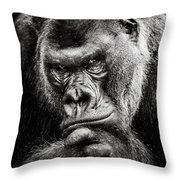 Western Lowland Gorilla Bw II Throw Pillow