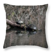 Western Painted Turtles On A Log Throw Pillow