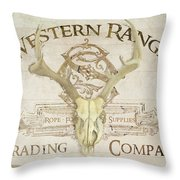 Western Range 3 Old West Deer Skull Wooden Sign Trading Company Throw Pillow