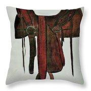 Western Saddle Throw Pillow