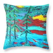 Western Sunset Throw Pillow