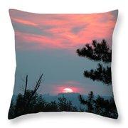 Western Sunset Sun On The Horizon Throw Pillow