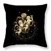 Western Zodiac - Golden Gemini - The Twins On Black Canvas Throw Pillow