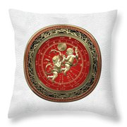 Western Zodiac - Golden Gemini - The Twins On White Leather Throw Pillow