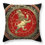 Western Zodiac - Golden Leo - The Lion On Black Velvet Throw Pillow