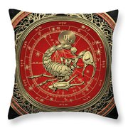 Western Zodiac - Golden Scorpio - The Scorpion On Black Velvet Throw Pillow